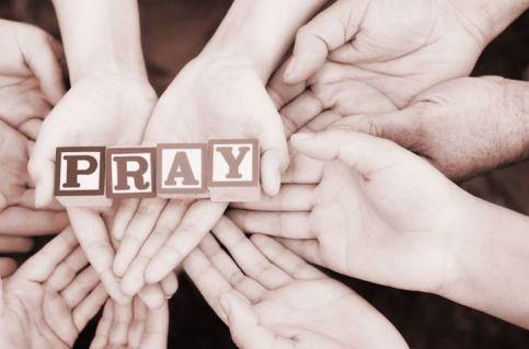 Hands holding Pray Blocks